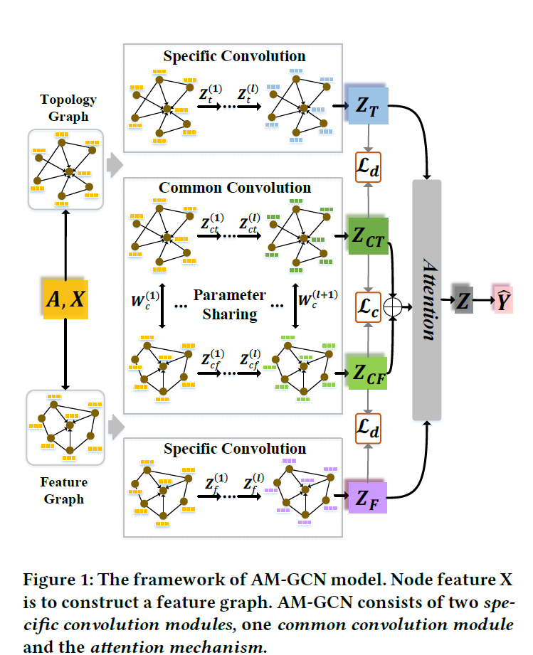 AM-GCN: Adaptive Multi-channel Graph Convolutional Networks